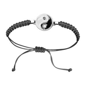 Bracelet Acier corde coulissante fine noire motif ying/yang noir et blanc