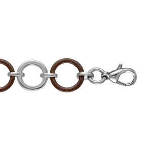 Bracelet Acier et céramique marron mailles rondes 18,5+2,5cm