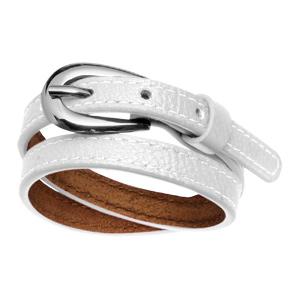 Bracelet Acier et cuir 2 rangs fermeture ceinture blanc