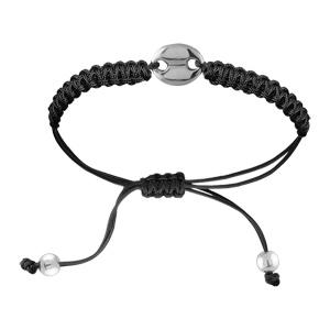 Bracelet Acier cordon noir coulissant motif grain de café