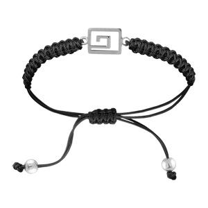 Bracelet Acier cordon noir coulissant motif grec