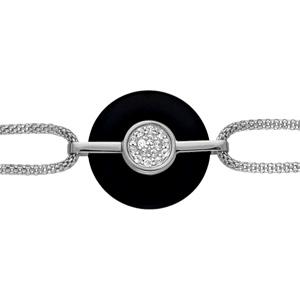 Bracelet Acier double chaîne rond agate noire pierres blanches 16+3cm
