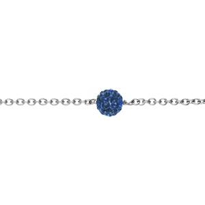 Bracelet Acier boule résine et strass bleu royal boule 8mm 17+2cm