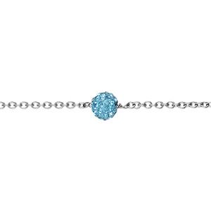 Bracelet Acier boule résine et strass bleu ciel boule 8mm 17+2cm