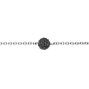 Bracelet Acier boule résine et strass noir boule 8mm 17+2cm