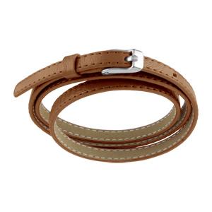 Bracelet Acier et cuir fin enroulée 3 rangs marron clair fermoir ceinture