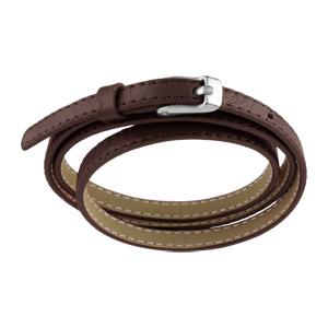 Bracelet Acier et cuir fin enroulée 3 rangs marron foncé fermoir ceinture