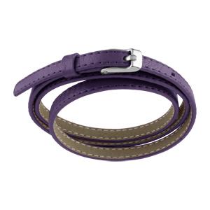 Bracelet Acier et cuir fin enroulée 3 rangs violet fermoir ceinture