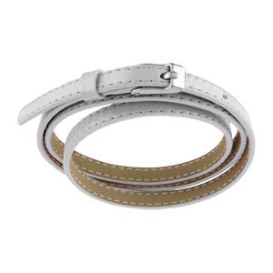 Bracelet Acier et cuir fin enroulée 3 rangs blanc fermoir ceinture