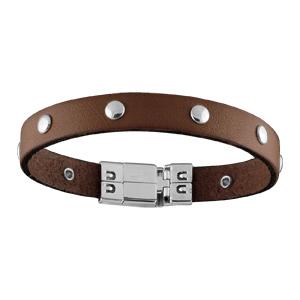 Bracelet Acier et cuir marron avec pastille 18,5cm