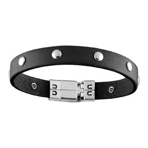 Bracelet Acier et cuir noir avec pastille 18,50cm