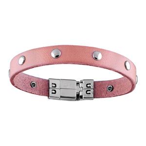 Bracelet Acier et cuir rose avec pastille