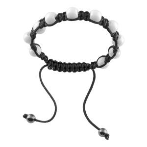 Bracelet Acier corde coulissante noire boule céramique blanche