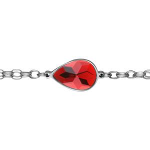 Bracelet Acier double chaîne avec grosse pierre rouge 19cm