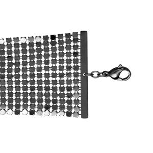 Bracelet Acier et pvd noir cotte de maille 17+3cm
