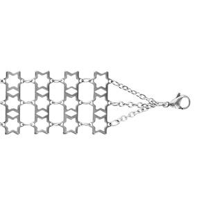 Bracelet Acier à plat 3 rangs motif étoile 18+3cm
