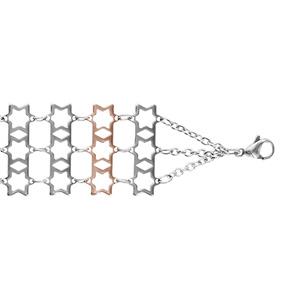 Bracelet Acier à plat 3 rangs motif étoile avec dorure rose 18+3cm