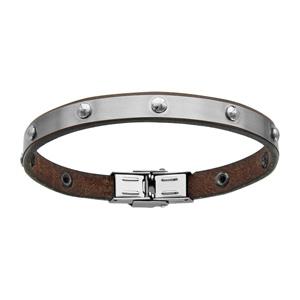 Bracelet Acier et cuir bovin marron avec boules 20cm