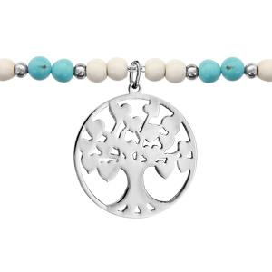Bracelet Acier boules imitation blanches et bleues avec pampille arbre de vie 16+3cm