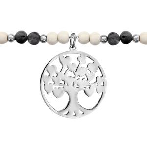 Bracelet Acier boules imitation blanches et grises avec pampilles arbre de vie 16+3cm
