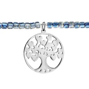Bracelet Acier et perles de verres bleu avec pampille arbre de vie 16+3cm