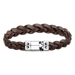 1001 Bijoux - Bracelet acier et cuir bovin tressé fin marron 19cm pas cher