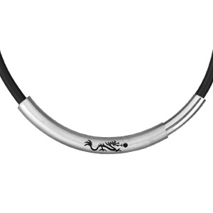 Image of Collier acier et caoutchouc motif Dragon chinois - 45cm