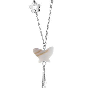 Collier Acier motif fleur et papillon nacre blanche
