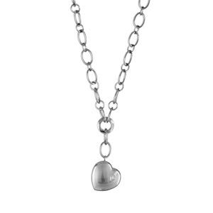 Collier Acier forme y coeur bombé et 1 oxyde de zirconium 47cm