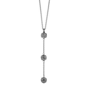 Collier Acier forme y 3 boules résine grise et strass blancs 41cm réglable 44cm