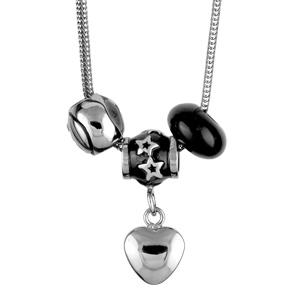 1001 Bijoux - Collier acier chaine tube motif fantaisie noir 45cm pas cher