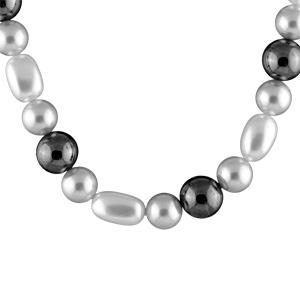 Image of Collier perles blanches et grises fermoir bouée 42cm réglable 47cm