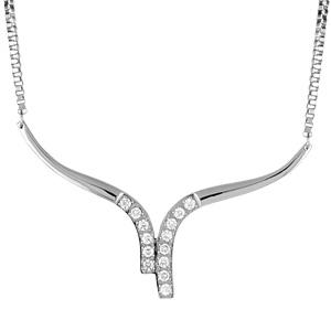 Collier Acier forme volute pointe pierres blanches serties 45cm