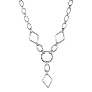 Collier Acier forme y motif géometrique 46cm
