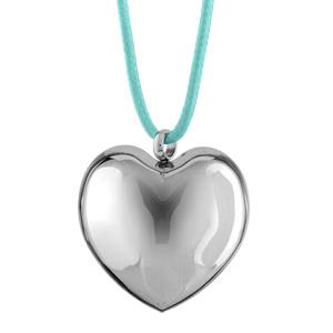 Collier Acier cordon bleu ciel pendentif gros coeur bombe 47+5cm