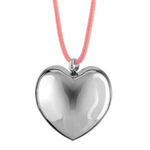 Collier Acier cordon rose pendentif gros coeur bombe 47+5cm