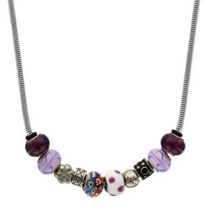 Collier Acier motifs et boules violettes 40+5cm