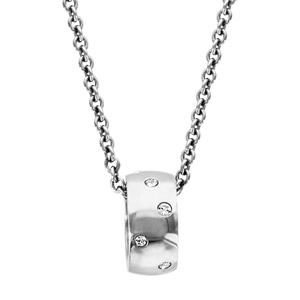 Collier Acier pendentif anneau oxydes blancs 45+4cm