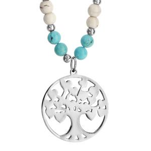 Collier Acier et boules imitation blanches et bleues pendentif arbre de vie 45+10cm
