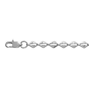 1001 Bijoux - Collier acier fantaisie maille losange 42cm pas cher