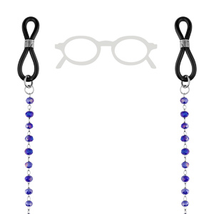 Chaîne de lunette avec perles facetées bleues 69cm