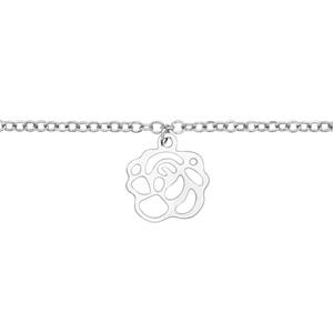 Chaîne de cheville en acier avec pampille fleur découpée - longueur 22cm + 3cm de rallonge