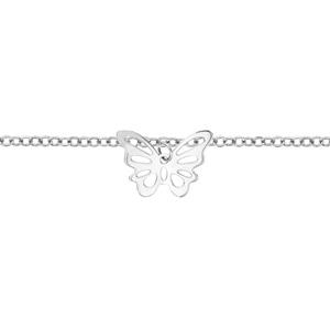 Chaîne de cheville en acier avec pampille papillon découpé - longueur 22cm + 3cm de rallonge