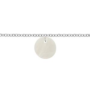 Chaîne Cheville acier rondelle nacre blanche 22+3cm