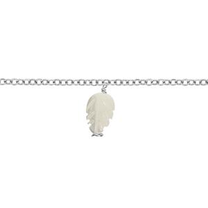 Chaîne Cheville acier feuille nacre blanche 22+3cm