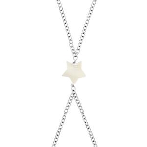 Parure de main acier motif étoile nacre blanche 16+3cm