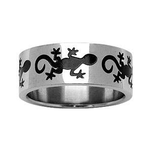 Alliance En acier avec motif salamandre en résine noire