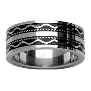 Alliance En acier et résine noire avec motifs vagues, bande et points tillés