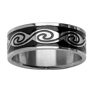Alliance En acier et résine noire avec motifs vagues cernée au milieu
