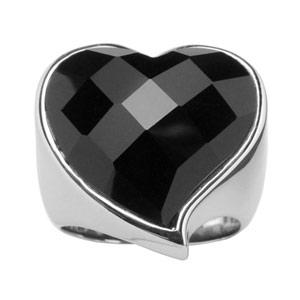 Bague En acier gros coeur faceté noir